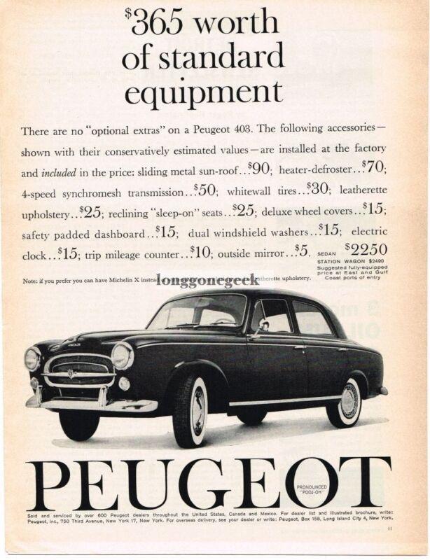 1960 Peugeot 403 Automobile Car Vintage Ad
