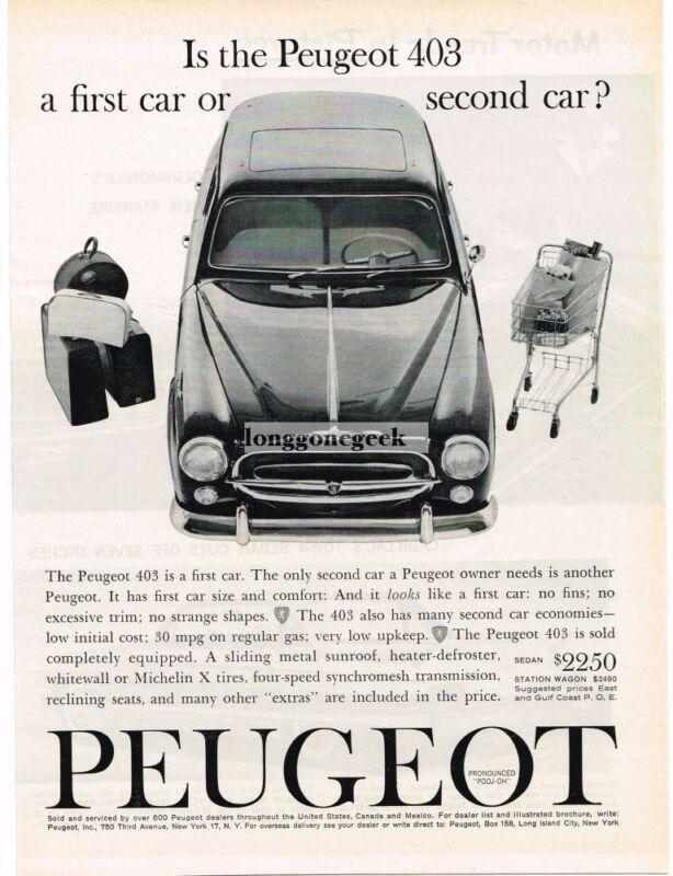 1961 Peugeot 403 Automobile Car Vintage Ad