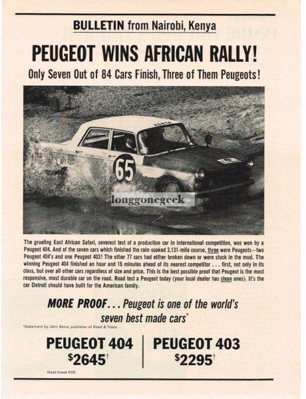1963 Peugeot 404 wins East African Safari Vintage Print Ad