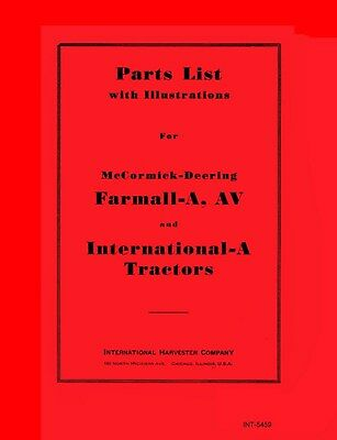 International A Farmall A Av Parts Manual Mccormick Deering Tractor Part List Ih