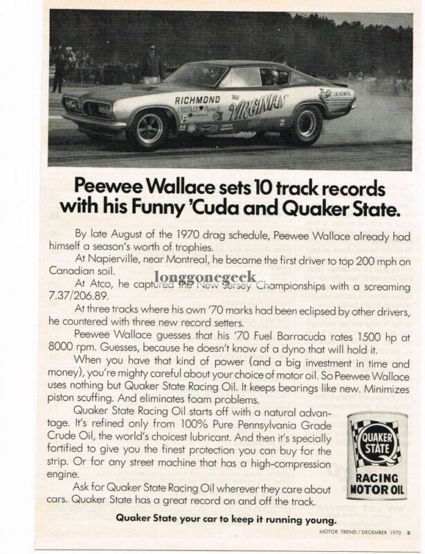1970 Quaker State Racing Motor Oil Pee Wee Wallace Virginian Dragster Vintage Ad