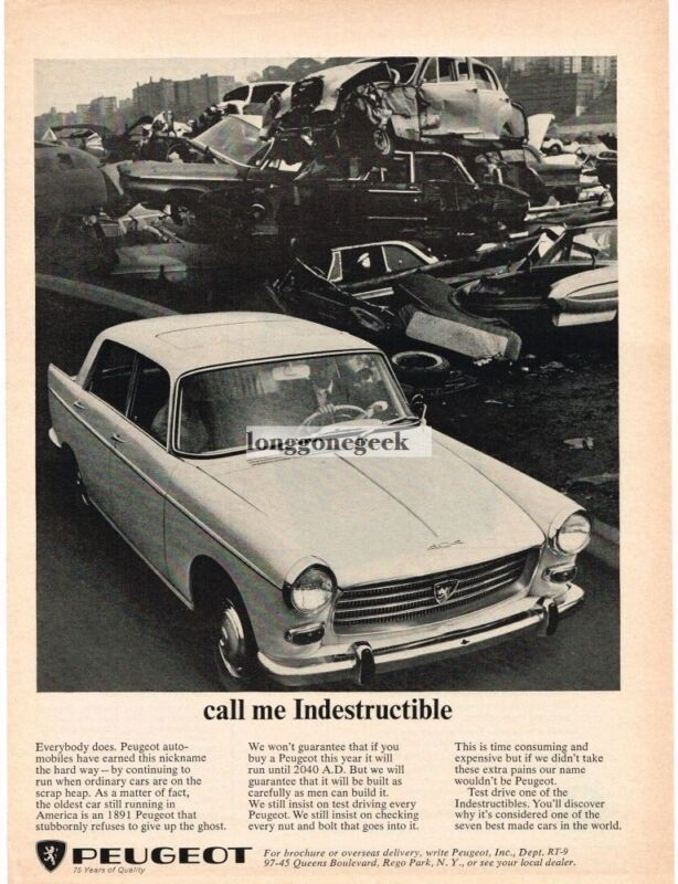 1965 Peugeot 404 Call Me Indestructible in junk yard Vintage Ad