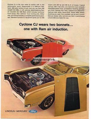1968 Mercury Red, Gold Cyclone CJ Vintage Ad