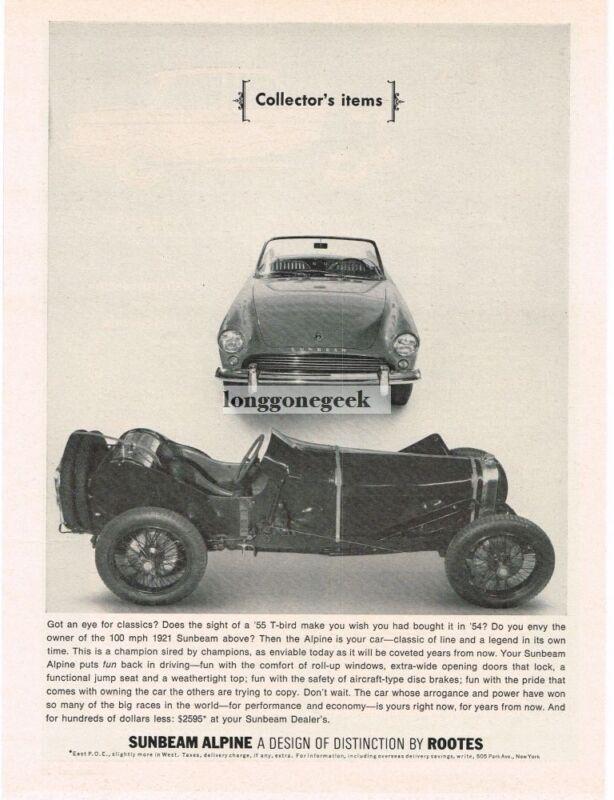 1963 Sunbeam Alpine 1921 Sunbeam Vintage Print Ad