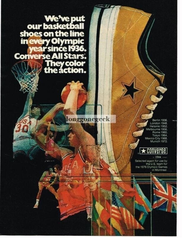 1975 Converse All Stars Olympics Basketball Sneakers Since 1936 art Vintage Ad