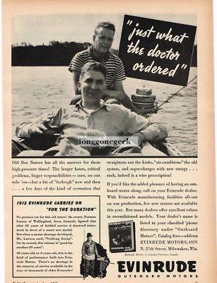 1942 Evinrude Outboard Boat Motor Vintage Print Ad