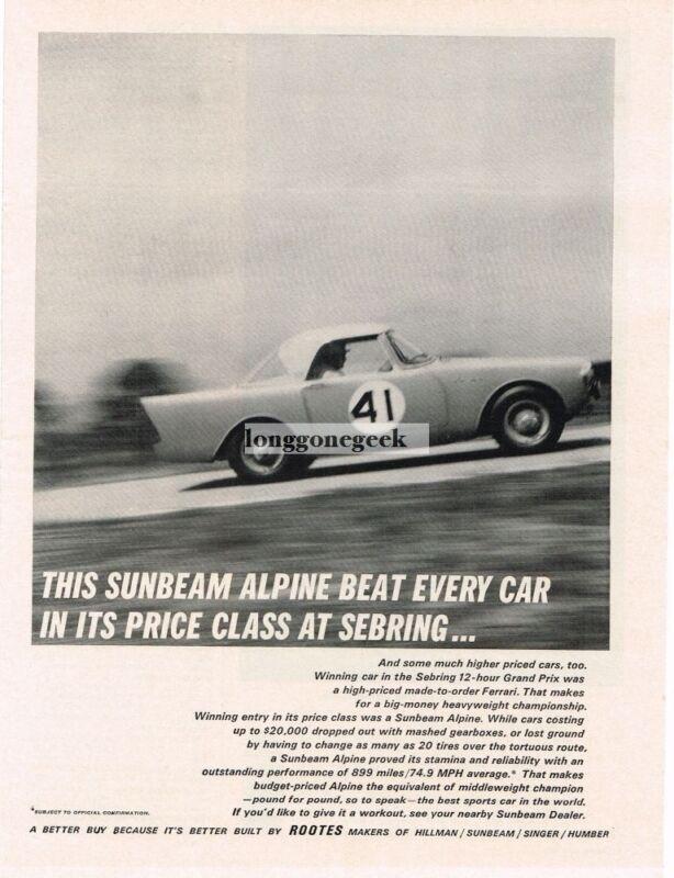 1962 Sunbeam Alpine race car Vintage Ad
