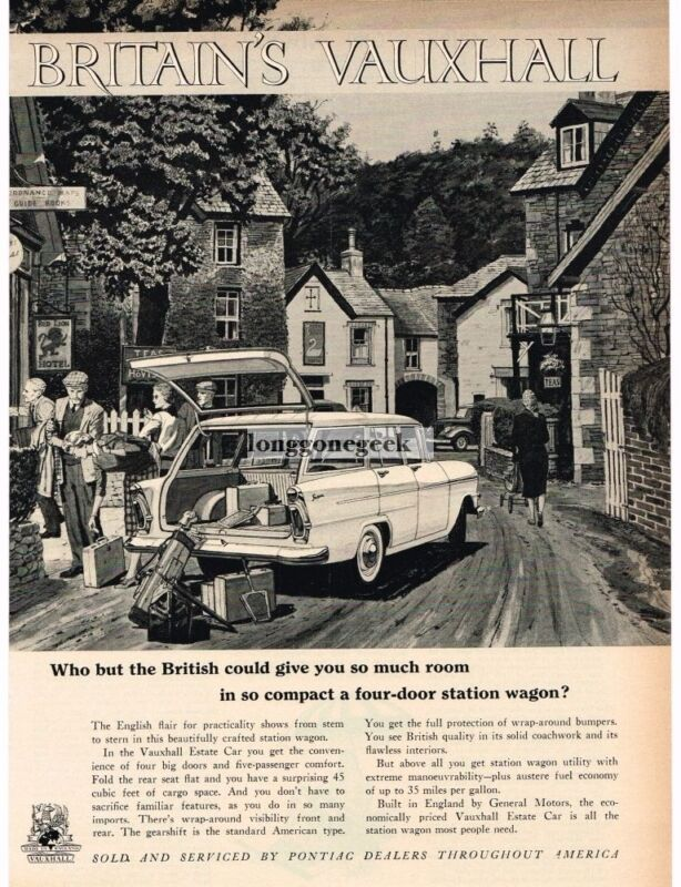 1959 Vauxhall VICTOR Station Wagon Small English Village art Vintage Ad