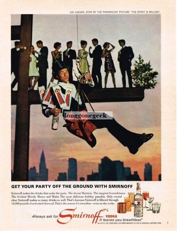 1967 SMIRNOFF Vodka SID CAESAR Hanging From Steel Girder Christmas Vintage Ad