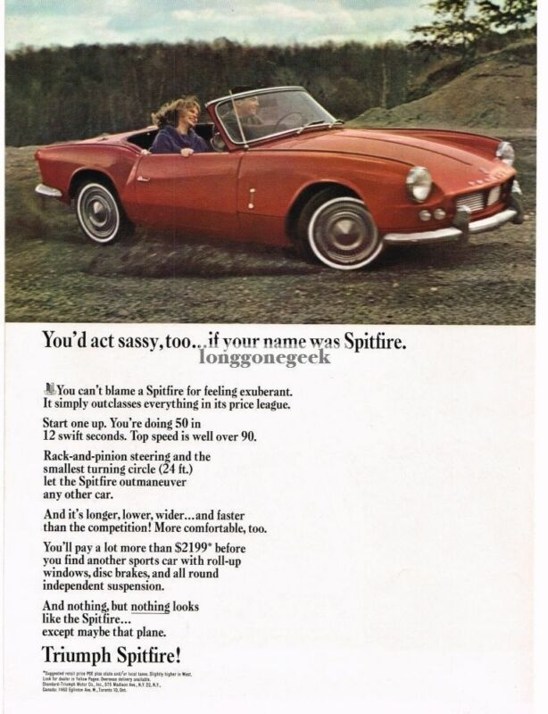 1964 Triumph Spitfire Red Convertible Vintage Ad