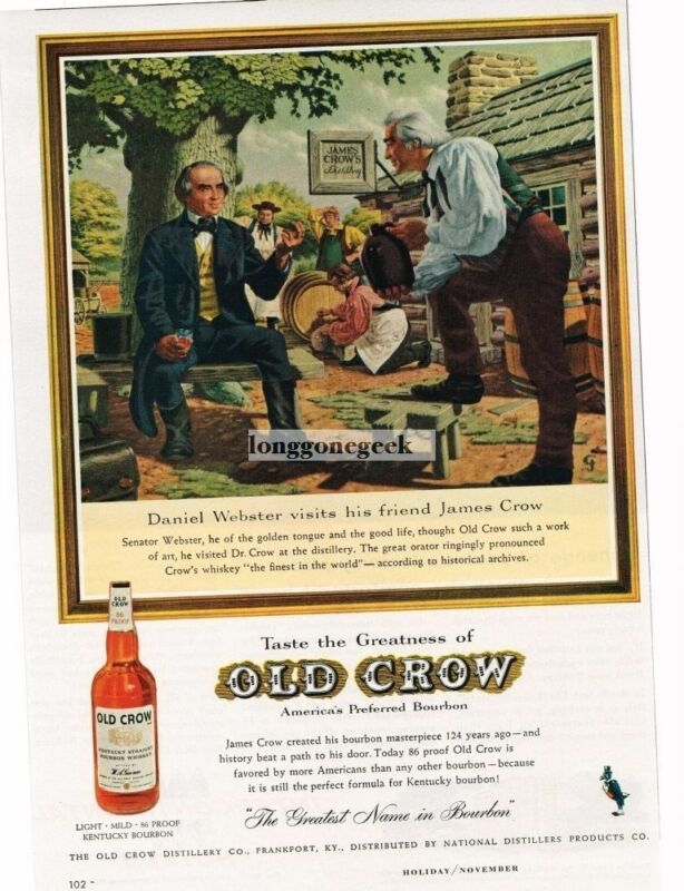 1959 OLD CROW Boubon Whiskey Daniel Webster Visits James Crow Vintage Print Ad