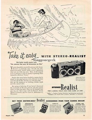 1950-59 1952 Stereo Realist 3d 3-d 35mm Camera Vtg Print Ad Dad At Work Collectibles
