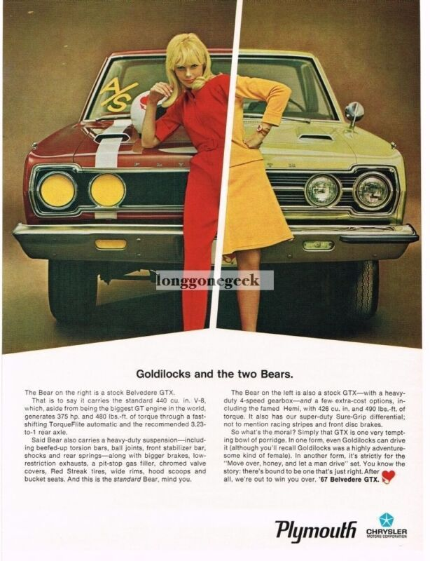 1967 Plymouth Belvedere GTX Goldilocks and the Two Bears Vintage Ad