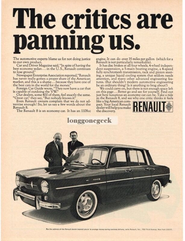 1966 Renault 8 4-door Sedan Vintage Ad