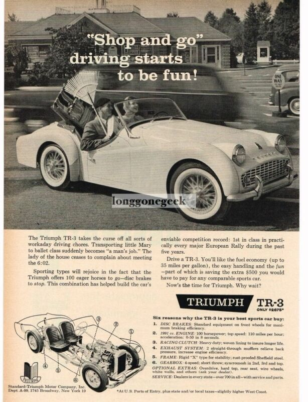 1959 TRIUMPH TR-3 Convertible Going SHopping Vintage Ad
