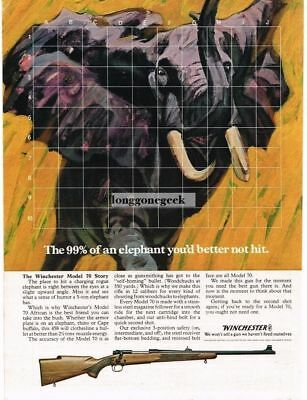1969 Winchester Model 70 African Rifle Charging Elephant art Vintage Print Ad