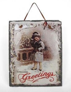 Christmas-Wall-Hanging-Decoration-Seasons-Greetings-Old-Fashioned-Winter-Snow