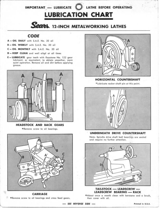 Craftsman 12 Inch Metalworking Lathe Lubrication Chart Instructions