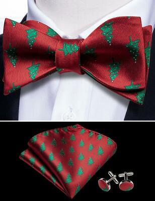 Christmas Bow Tie (2020 Christmas Tree Self tie bowtie Set Party Red 100%Silk Woven Jacquard)
