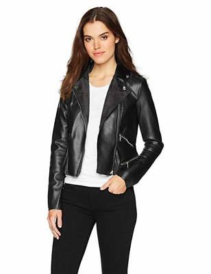 Yoki Woman's Black Raw Edge Faux Leather Moto Jacket Size M L XL 1X 2X 3X - Black Raw Leather