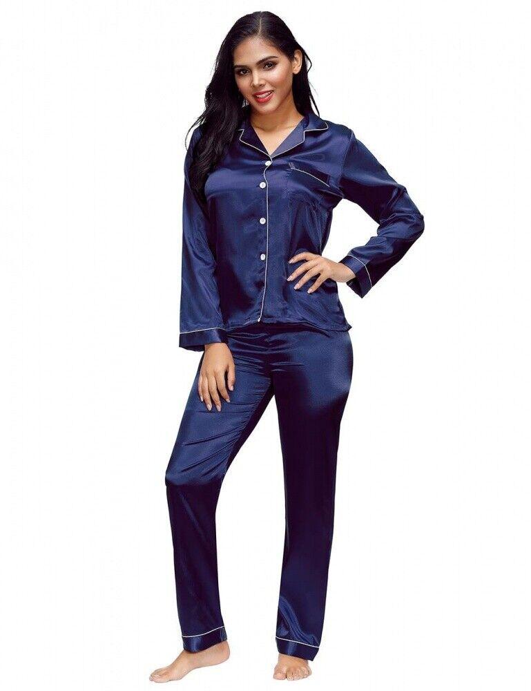 Sexy Damen Schlafanzug Satin Pyjama Blau Langarm zweiteilig Hosen Anzug S/M