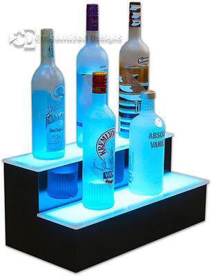 19 2 Step Tier Led Lighted Shelves Illuminated Liquor Bottle Bar Display Stand