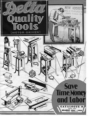 Delta Rockwell  Quality Tools (Motor Driven) Catalogue H Season 1931-1932