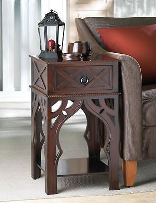 MOROCCAN STYLE DARK WOOD FINISH SIDE END NIGHTSTAND TABLE DECOR~10015465