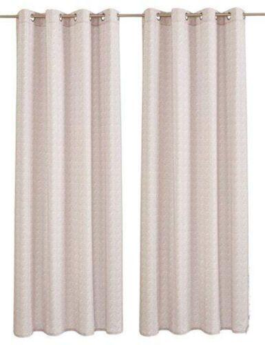 MY HOME Dekostore 2 Stück  245 x 140 creme sand Ösen Gitter-Muster Vorhang