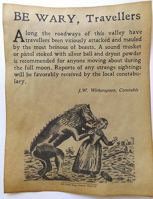 Werewolf Warning Poster, Halloween Decor, big 11x14, party, monster - Halloween X Party