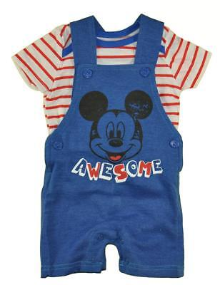 Mickey Mouse Infant Boys S/S Top Two-Piece Shortall Set Size 0/3M 3/6M 6/9M (Mickey Mouse Infant)