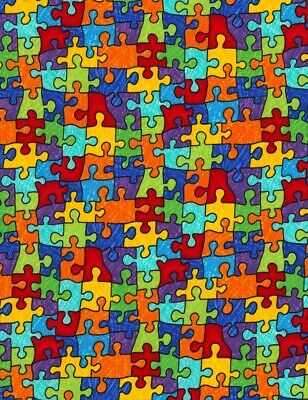 Kids Fabric - Autism Rainbow Colorful Puzzle Pieces - Timeless Treasures YARD - Kids Rainbow Bright Costume