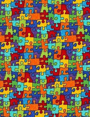 Kids Fabric - Autism Rainbow Colorful Puzzle Pieces - Timeless Treasures YARD](Kids Rainbow Bright Costume)