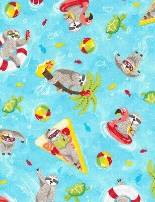 Animal Fabric - Sloth & Pool Toys on Light Blue Water - Timeless Treasures YARD