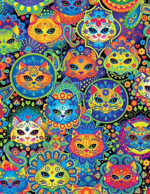 Fabric Cats Sugar Skull Faces Neon Rainbow on Black Cotton Timeless 1/4 yard