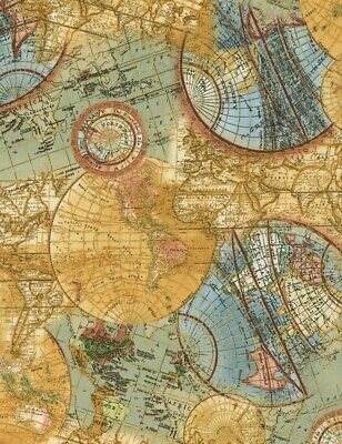 Library Fabric - Old World Globe Map Metallic - Timeless Treasures YARD