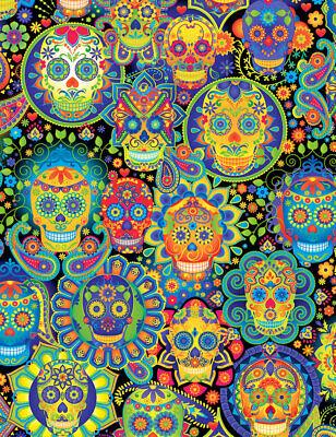 Fabric Sugar Skull Faces Neon Rainbow on Cotton Timeless Treasures 1/4 yard 7378