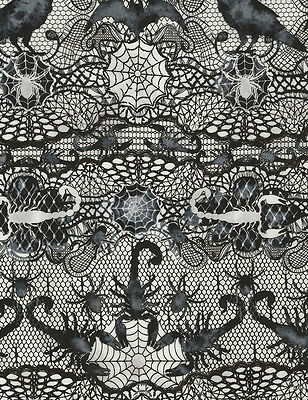 Timeless Treasures Wicked Lace Spider Web Print 100% cotton fabric by the yard - Spider Lace