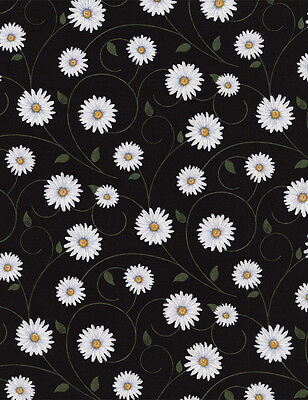 Black Vines - Timeless Treasures Daisy Vines on Black Premium 100% cotton fabric by the yard