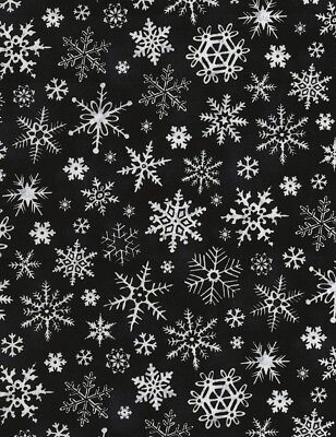 Black And White Christmas (Christmas Fabric - Black and White Snowflake Toss - Timeless Treasures)