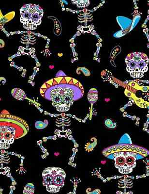 TT Dancing Day of Dead Skeletons 100% cotton fabric by the yard Skeletons skull