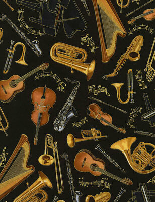 Timeless Treasures Fabric MUSICAL INSTRUMENTS ON BLACK- yards