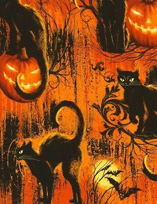 Halloween Fabric - Wicked Black Cats & Pumpkins Orange - Timeless Treasures YARD - Treasure Cat Costume