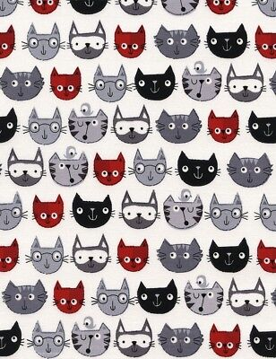 Cat Fabric - Red Black and Gray Cartoon Faces on White - Timeless Treasures YARD - Treasure Cat Costume