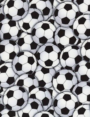 Sports Fabric - C4820 Black White Packed Soccer Ball - Timeless Treasures YARD