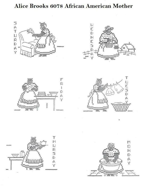 Hand Embroidery Transfer 6078 Mother doing daily chores Days of the Week Towels