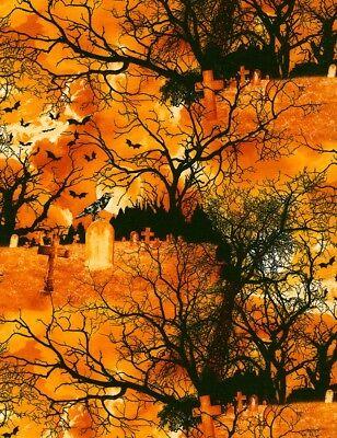 Halloween Fabric - C3761 Graveyard Tombstone Orange - Timeless Treasures YARD
