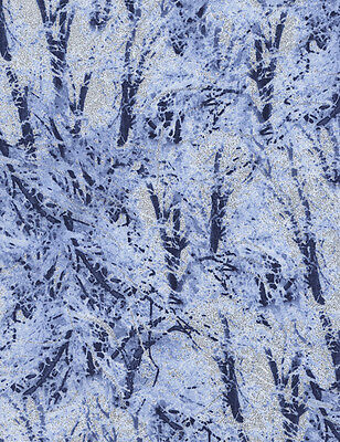 Glittery Fabric (Fabric Icy Snowy Branches Glittery on Blue Cotton by the 1/4)