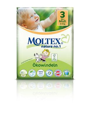 4er Pack 136 St MOLTEX Nature No1 Peanuts Öko Babywindeln MIDI Gr 3 (4-9kg 4x34