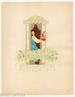 Art déco-Mode-Parfum-Blumen-Möbel - Lithographie aus Styl 1922